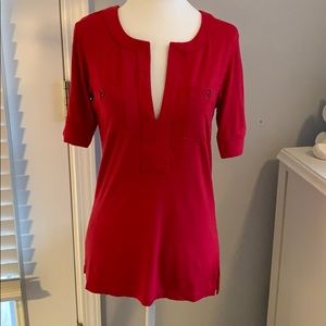 BCBG Maxazria Quarter Length Red Blouse